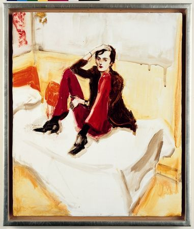 """""""Jarvis on a bed"""" / 1996 / Collection  of Laura and Stafford Broumand © artist Elizabeth Peyton"""