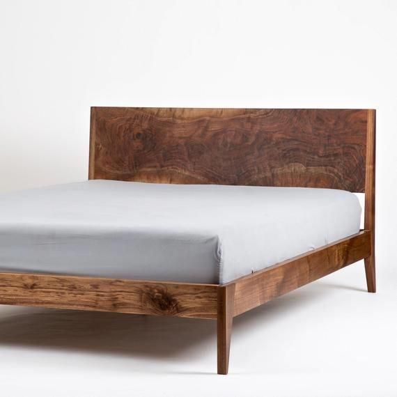 Modern Bed Walnut Bed Solid Wood Bed Platform Bed Mid Etsy Beds With Images Modern Bed Frame Modern Wood Bed Solid Wood Platform Bed