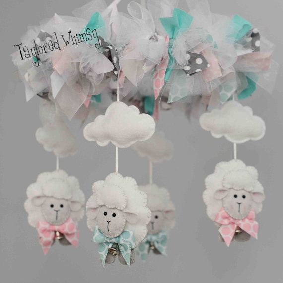 Lamb Mobile Baby Mobile Custom Mobile not by TayloredWhimsy