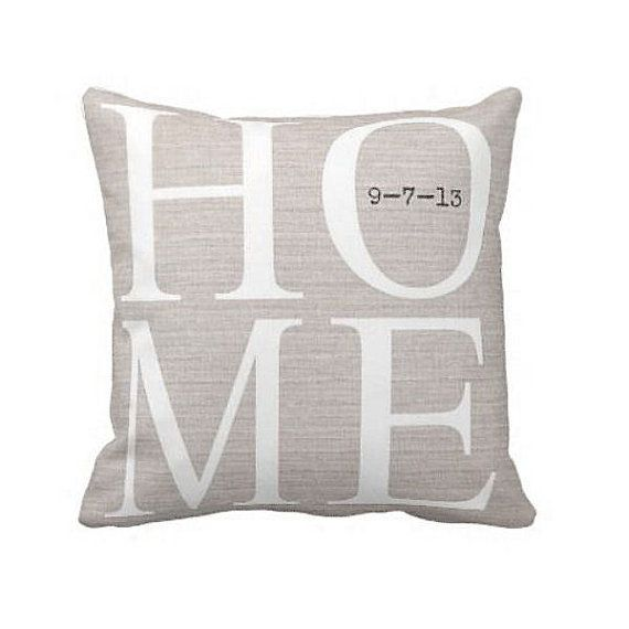 Pillow Cover Housewarming Gift Home Choose your Move in Date Personalized Cotton and Burlap Pillow