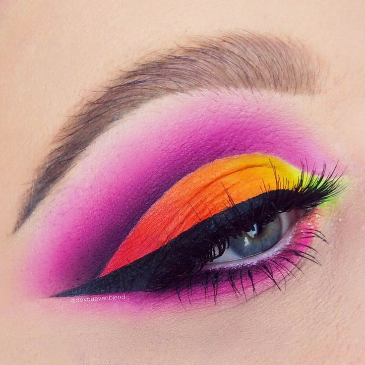 @doyouevenblend is a master at creating bright and playful neon makeup looks. This rainbow eyeshadow piece is blended to perfection. More: http://blog.furlesscosmetics.com/katina-k/