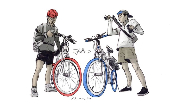 cycle illust with my friend
