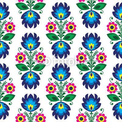 Zdjęcie Seamless traditional floral polish pattern - ethnic background | Fototapety | Dekoracje Na Wymiar