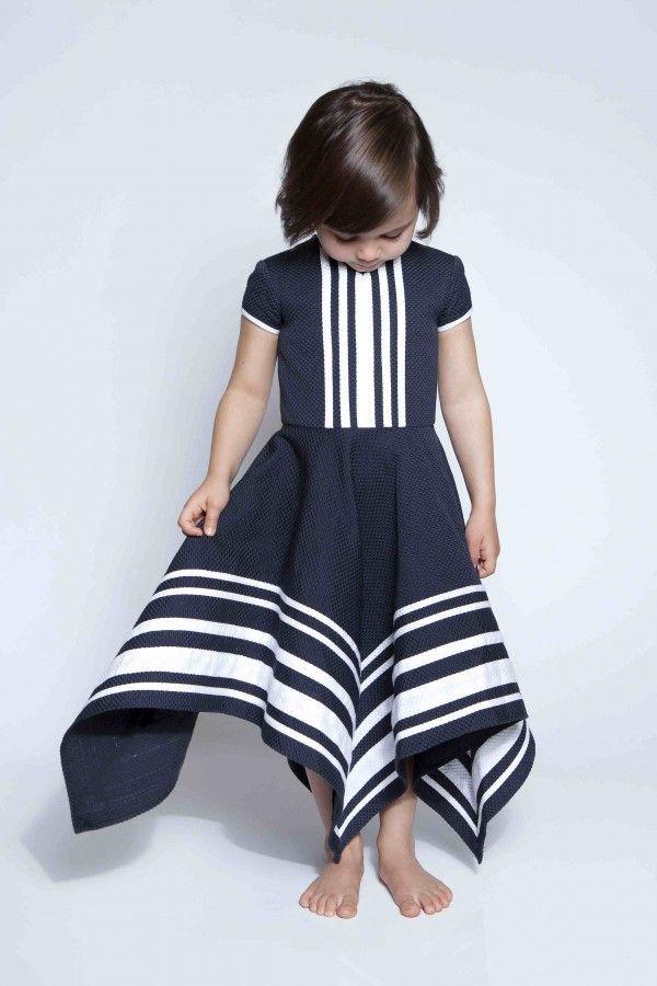 Graphic, beautiful navy blue and white striped dress #designer #kids #fashion