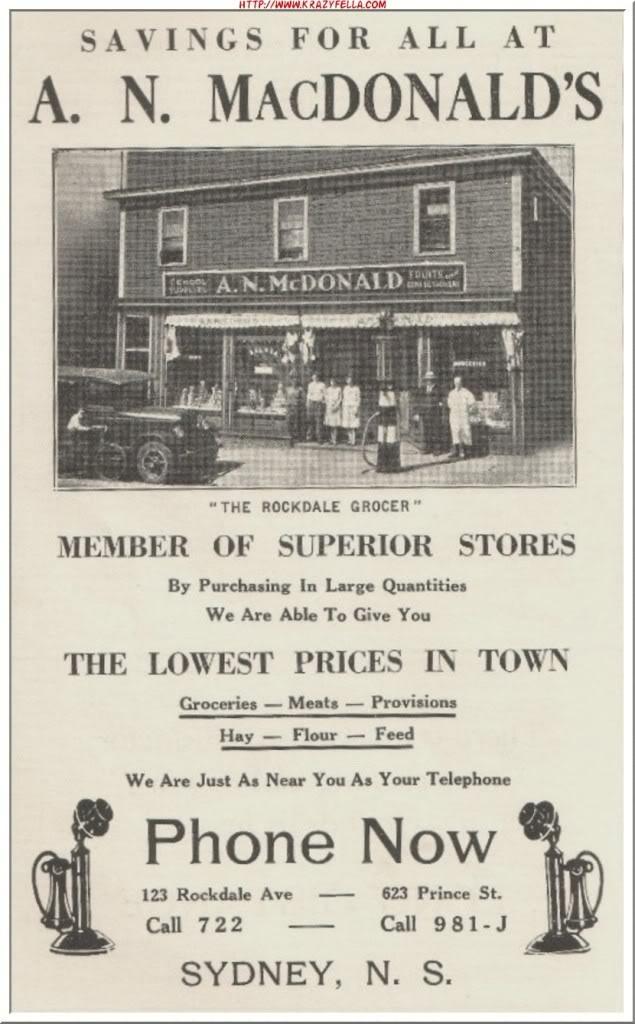 Old Sydney-Cape Breton Island Ad-A.N. MacDonald http://CaperMemories.Com