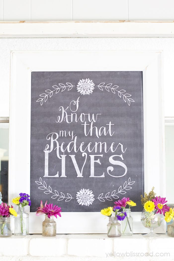 Spring mantel and Free Chalkboard Printable
