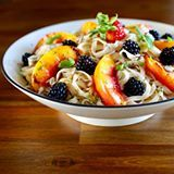 Top 8 Allergen-Free Rice Noodles - Lemon Ginger Sunflower Seed Sauce, Grilled Nectarines, Fresh Berries, Mint and Basil #recipeontheblog see profile link This ambrosial rice noodle dish was created to have broad appeal to both those with food allergies and those without. In addition to being gluten-free and vegan, it is also free from the Top 8 Allergens – peanuts, tree nuts, soy, milk, eggs, wheat, fish, and crustacean shellfish. These eight foods (and any ingredient that contains protein…