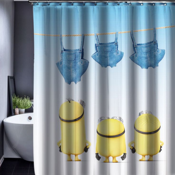 Find More Shower Curtains Information About Minions Curtain Pattern Customized Waterproof Bathroom Fabric