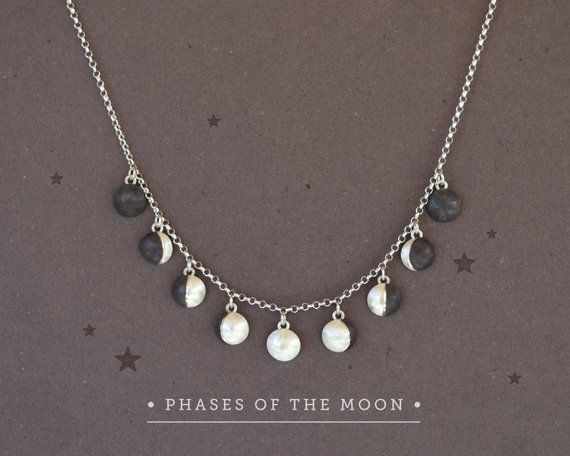 Celestial Jewelry Gemstone Charm Moon Charm Moon Cycle Charm Luna Jewelry | Copper and Silver Moon Necklace Garnet Charm
