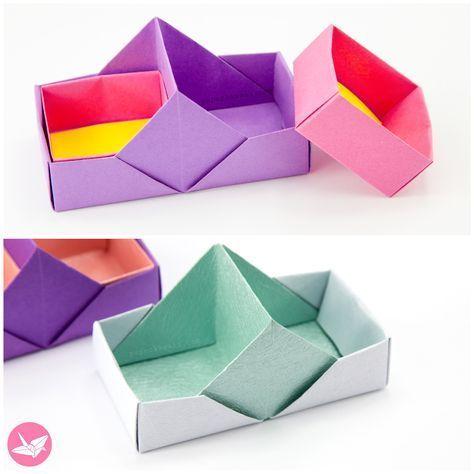 Anleitung für zweigeteilte Origami-Tabletts / -Boxen