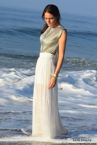 Kate Stoltz NYC Hamptons Collection White skirt and green top