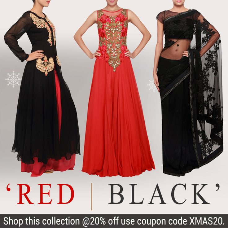 SANTA CAME EARLY!!!  Our new x-mas collection of red and black stylish attires! Use coupon code XMAS20 to get 20% off on this collection!  Shop online at kalkifashion.com or visit our stores @Worli and @Santacruz