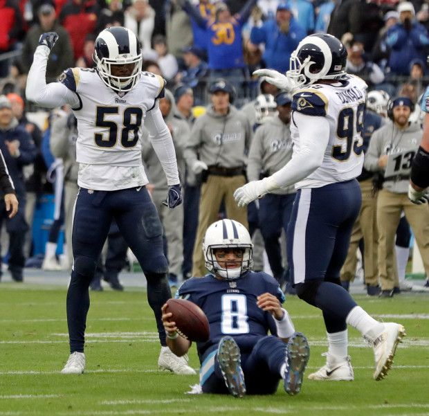 Game #15 2017: Rams wins NFC West, 27-23 to Titans in Nashville. Rams at 11-4 NFC West Title in 14 yrs (2003). Rams-D sacks Titans QB8 Marcus Mariota. (google.image) 12.24.17 (Sun) #4/7