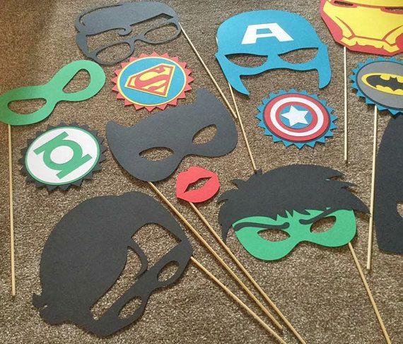 14pc SUPER HERO Party Fotoautomaten die Requisiten hulk