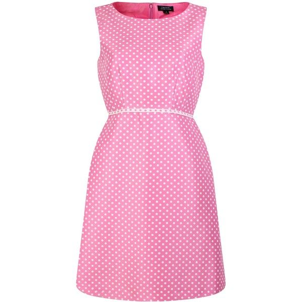 Tahari ASL Fit and Flare Dress ($175) ❤ liked on Polyvore featuring dresses, pink, women, pink polka dot dress, pink dot dress, tahari by arthur s. levine dresses, pink summer dresses and polka dot summer dress