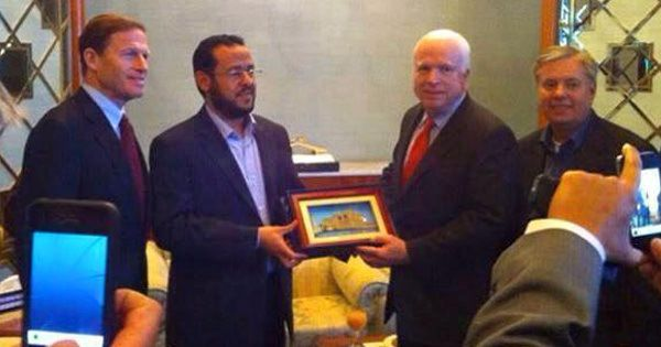 Share on FacebookTweet ThisShare on Google+ John McCain and Lindsey Graham with the leader of the Libyan branch of isis. by Kyle Rogers Abdelhakim Belhadj is an ex-Taliban commander, who trained Arab volunteers to fight Americans, that became a US sponsored Jihadist... #isis #libya #mediablackout