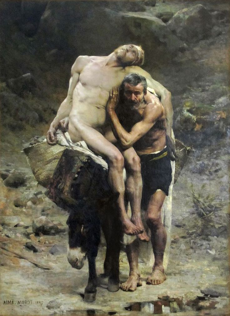 """Aime-Morot: """"Le bon Samaritain"""", 1880, oil on canvas, Dimensions 268.5 × 198 cm (105.7 × 78 in), Current location: Petit Palais, Paris."""