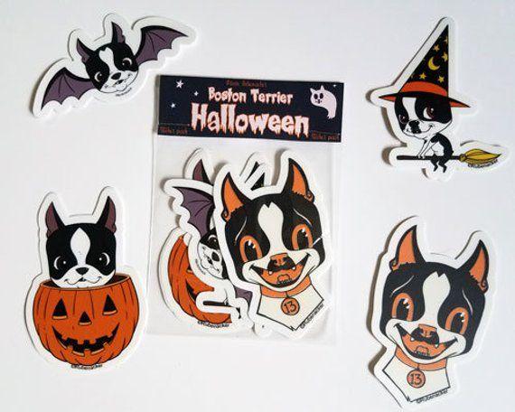 Boston Terrier Vinyl Halloween Stickers Boston Terrier Stickers Boston Terrier Gift Dog Stickers Boston Terrier Halloween Dog Art Boston Terrier
