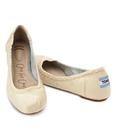 Another great find on #zulily! Ivory Grosgrain Ballet Flat by TOMS #zulilyfinds