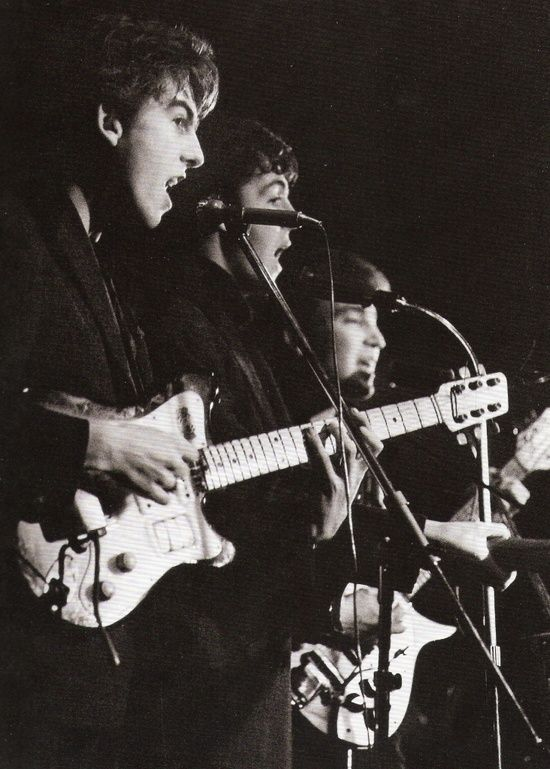 The Beatles (at the Top Ten Club in Hamburg, April 1961. Photo by Juergen Vollmer.)