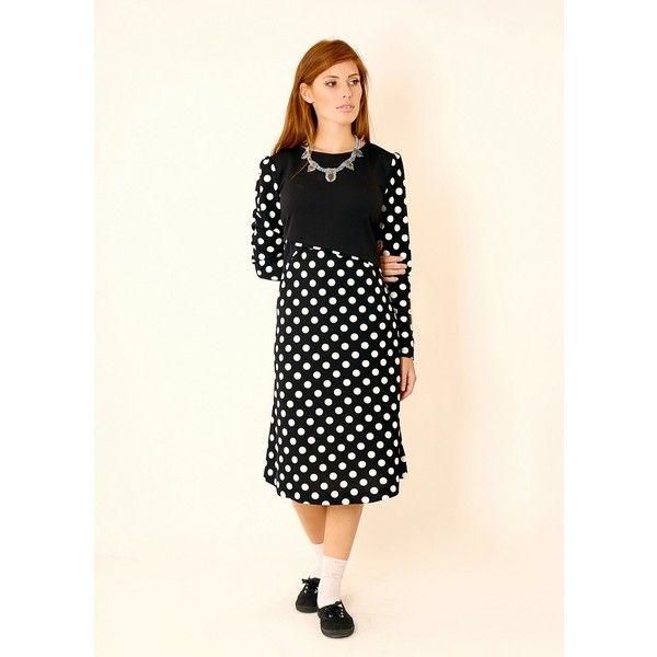 Tamar Landau Colorblock & Polka Dot Dress ($72) ❤ liked on Polyvore featuring dresses, black, long sleeve loose dress, long-sleeve maxi dress, color block dresses, colorblock dress and long sleeve formal dresses