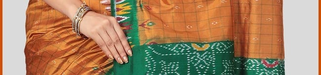 SPN427:Green and Orange Handloom Pochampally Ikat Pure Silk Saree with Blouse