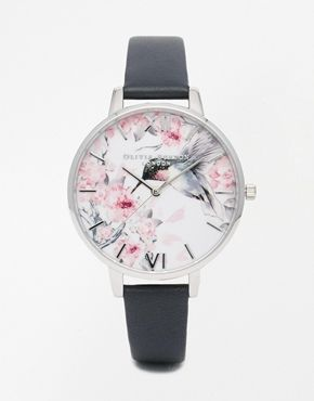 Olivia Burton – Silberne Armbanduhr mit Malereidruck