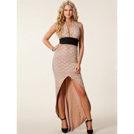 Vestido Largo de Encaje Color Beige Online VL72