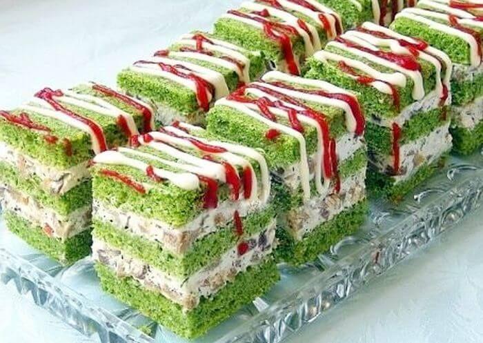 Zelene kocke sa spanaćem, šampinjonima i sirom