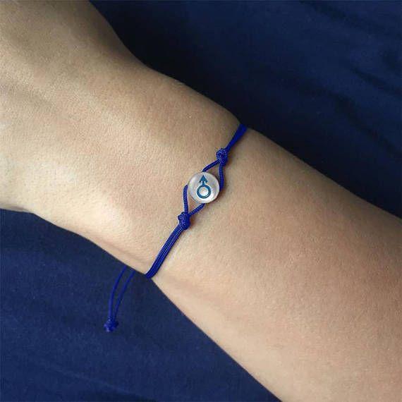 Male gender symbol silver charm bracelet Venus and Mars