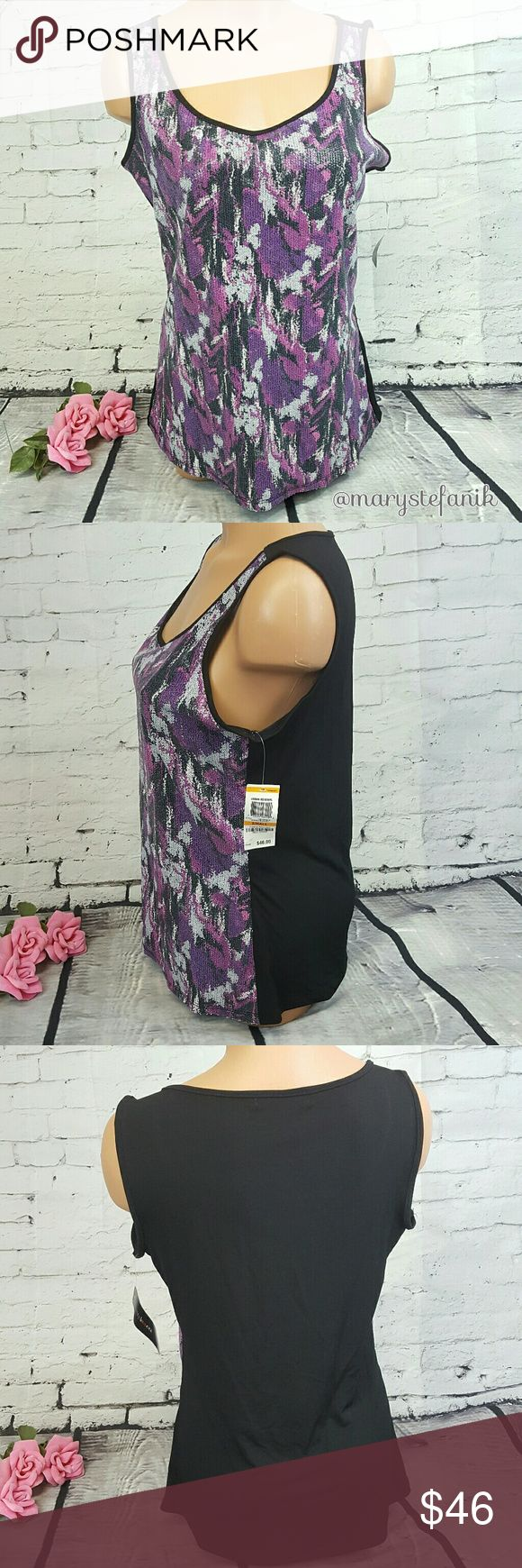 """{New} Style & Co. Purple Black Sequin Tank Top S {New} Style & Co. Purple Black Sequin Tank Top size S. Perfect for a summer night out!  Waist from Seam to Seam Approx: 18"""" Length from Top Approx: 25""""  Please let me know if you have any questions. Happy Poshing! Style & Co Tops Tank Tops"""