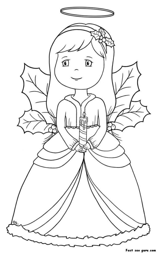 Pretty Christmas Angel Coloring Page | Christmas coloring ...
