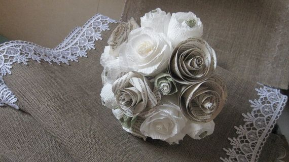 Rustic Bride IVORY WEDDING PAPER bouquet by moniaflowers on Etsy