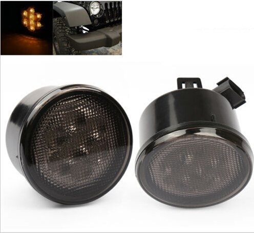 50.00$  Buy here - http://alio3u.worldwells.pw/go.php?t=32659866402 - Amber Front LED Turn Signal Light Assembly for Jeep Wrangler JK 2007~2016