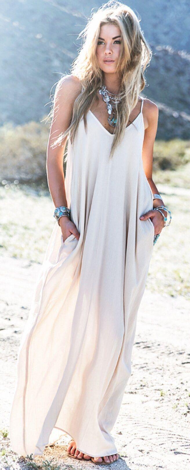 7877cf2ab8 Boho Chic Women Maxi Dress. Boho dresses. Beach fashion & Bohem ...