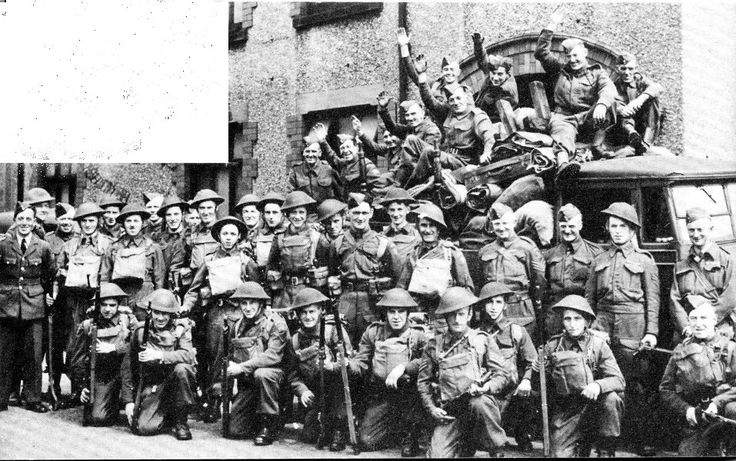 Home Guard outside the Denbighshire Hussars Drill Hall in Chapel Street Wrexham.