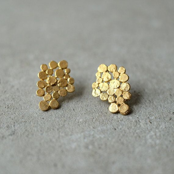 Sale, Gold Cluster earrings, Christmas gift, gift for her, bunch earrings, bridal earrings, bunch posts,designer jewelry,holiday gift woman