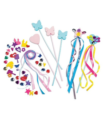 Set of 6 make your own fairy wands craft kit disney fe for Princess wand craft kit