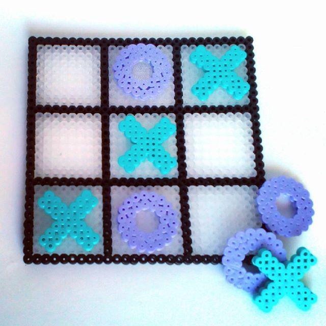 Tic Tac Toe hama beads by  naka_beads                                                                                                                                                                                 More