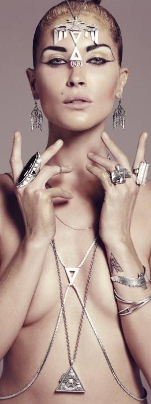 Simona Mar: Erin Wasson<3 Low Luv jewellery <3 body chain <3 thunderbird bangle <3 headpiece <3