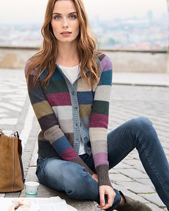 The style equivalent of a smile, our cardigan charms with its cropped length and colorful stripes that coordinate with nearly everything in your wardrobe rotation. This fun essential is the epitome of cozy, in lambswool with a reverse-jersey stitch.