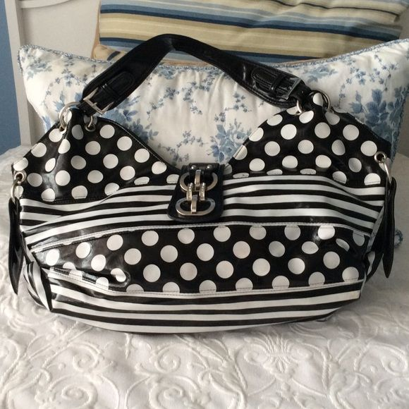 """POLKA DOT AND STRIPED PURSE BLACK AND WHITE POLKA DOT AND STRIPED PURSE WITH ZIP AND SNAP CLOSURE. FAUX PATENT LEATHER. HAS A HUGE OPENING. GOOD CONDITION. 12""""x21"""" BOUTIQUE Bags"""