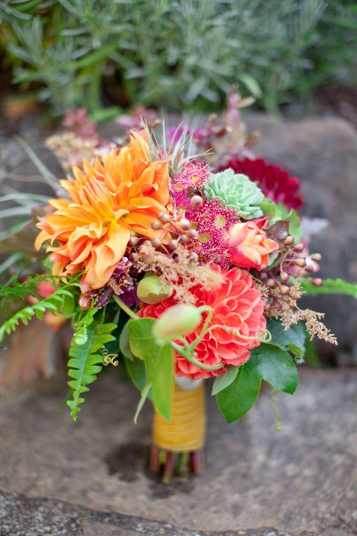 Gorgeous bouquet with dahlias, garden roses, antique hydrangea, succulents, ferns, abelia, tillandsias etc. ~ we ❤ this! moncheribridals.com