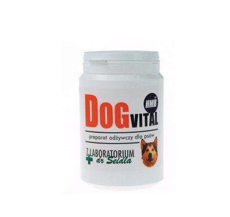 Dog Vital 300 g. DogVital z Laboratorium dr Seidla to odżywczy preparat dla psów przeciwdziałający zanikowi mięśni towarzyszącemu starości, przez co poprawia sprawność motoryczną i opóźnia procesy starzenia. Poprawia kondycję u psów aktywnych, zwiększa muskulaturę u psów wystawowych. Dodatkowo, przywraca sprawność u psów seniorów i opóźnia procesy starzenia. Przyspiesza powrót do zdrowia i wzmacnia mięśnie u psów cierpiących na miopatie, dyskopatie i dysplazje.