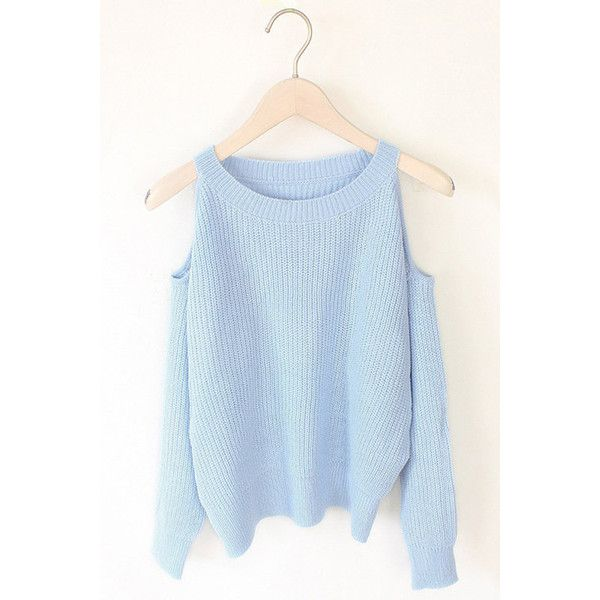 Yoins Light Blue Cold Shoulder Long Sleeves Sweater (291.955 IDR) ❤ liked on Polyvore featuring tops, sweaters, blue, cut-out shoulder sweaters, cut-out shoulder tops, cut out shoulder top, blue sweater and cut-out sweaters
