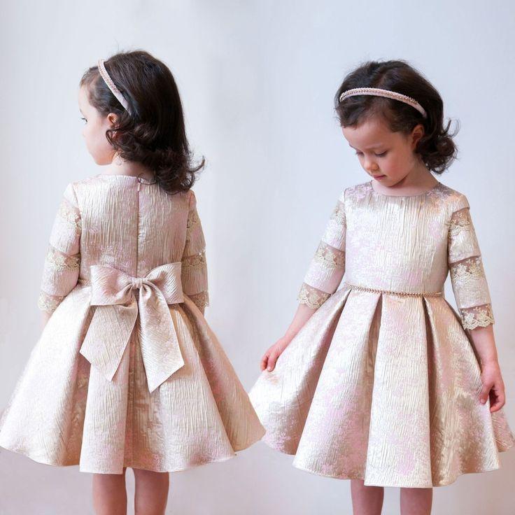 David Charles - Gold & Pink Jacquard Dress   Childrensalon
