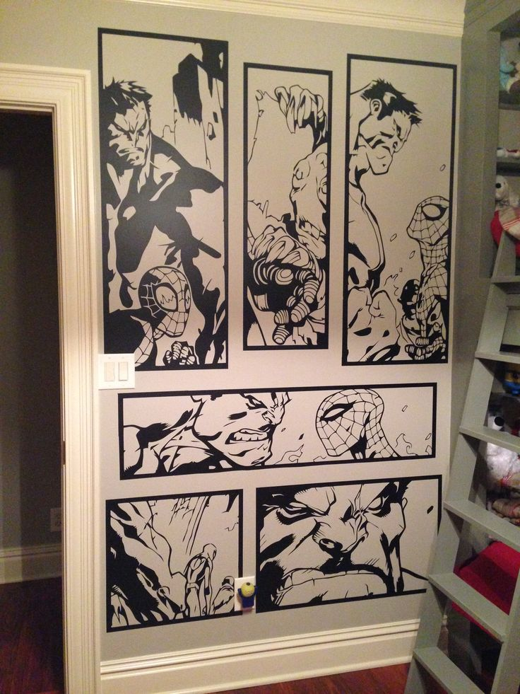 Check out this huge wall art I made for a customer.  The artwork measures 1.91m high by 1.35 wide.  My comic wall art creates a truly unique feature that kids and grown ups can marvel at.  If you are interested in getting something similar you can check out my other designs at   https://www.etsy.com/uk/shop/HallofHeroes