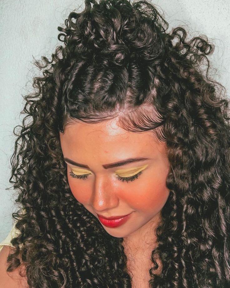 Cabelo cacheado longo: 44 inspirações + cuidados incríveis | Penteados, Trança em cabelo cacheado, Penteado cabelo crespo