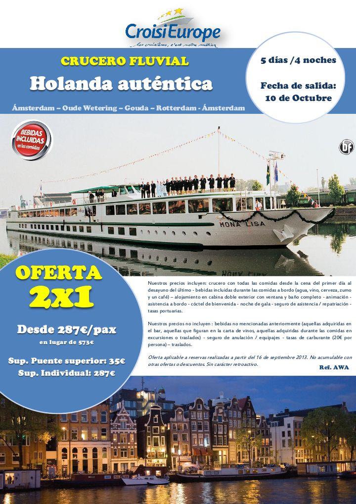 OFERTA 2 X 1: Crucero fluvial Holanda auténtica - http://zocotours.com/oferta-2-x-1-crucero-fluvial-holanda-autentica/