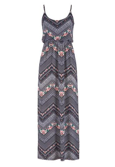 chevron and floral print maxi dress (original price, $39) available at #Maurices